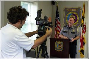 Sheriff Gary Hofmann taping QAC Most Wanted